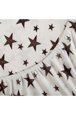 Простыня на резинке Звёздочки белые, трикотаж