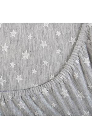 Простыня на резинке Звёздочки серые, трикотаж