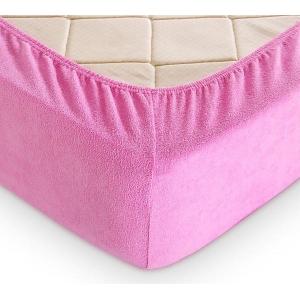 Простыня на резинке Розовая, махра