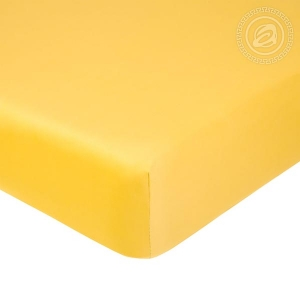 Простыня на резинке Желтая, сатин