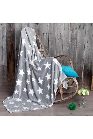 Плед Звезды (серый), велсофт